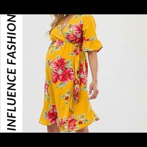 Maternity Wrap Dress With Floral Print Details